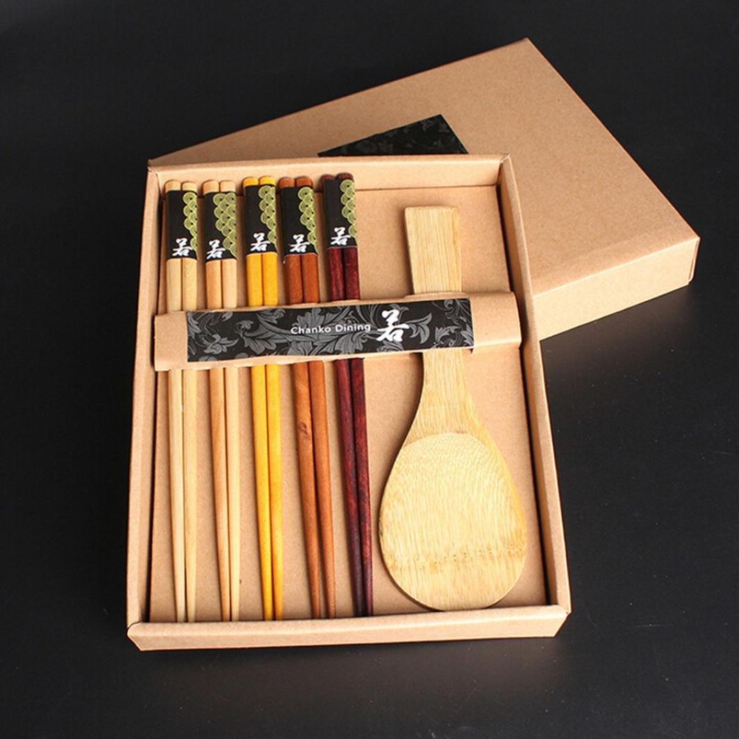 STRIR variedad hecha a mano japonesa madera natural palillos cuchara establece valor regalo(5 pares x palillos,1PC x cuchara): Amazon.es: Hogar