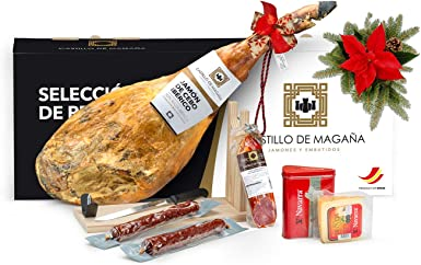 Castillo de Magaña - Cesta Premium - Lote jamón ibérico, productos ibéricos y queso de oveja curado: Amazon.es: Alimentación y bebidas