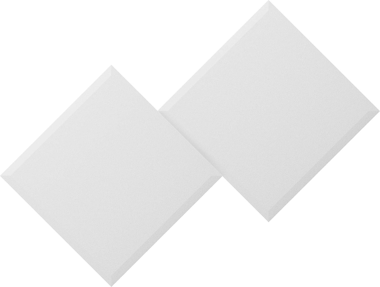 Aurora Acoustic Panels Polaris QuietFoam 8-pack 24x24x2 Acoustic Melamine Foam Sound-Absorbent Panel, Pro Recording Studios, Classrooms, Gyms, Home Theaters, BEVELED edge, WHITE, (AP2424BW)
