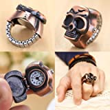 New Unisex Finger Skull Ring Watch Vintage Clamshell Watch Pirate Skull Design Retro flip Woman Gift Antique Fashion
