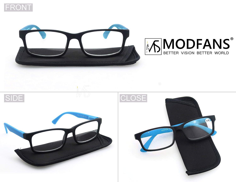 MODFANS Confezione da 3 occhiali da lettura 1.0 per uomo//donna Cerniera a molla leggera rettangolare lente trasparente con custodia