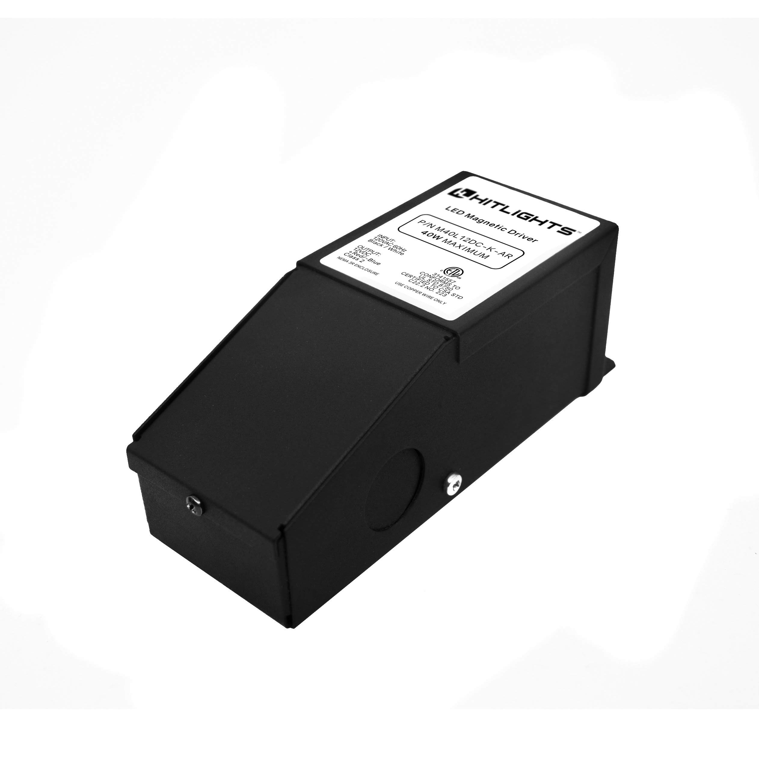 HitLights 40 Watt Dimmable Driver, Magnetic, for LED Light Strips - 110V AC-24V DC Transformer. Made in the USA. Compatible with Lutron and Leviton