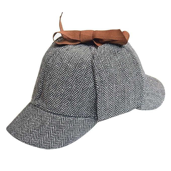 4ce9f58b1de Panmeihua Unisex Sherlock Holmes Hats Detective Deerstalker Hat Tweed Grey