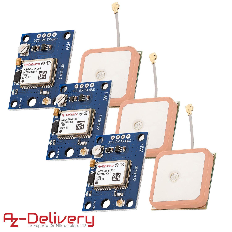 AZDelivery 3 x GPS GY-NEO-6M Modulo para Arduino, Raspberry Pi con E-book incluido!