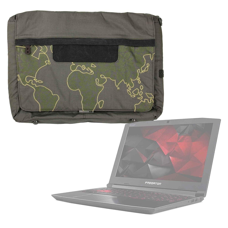 DURAGADGET Bolso con Bandolera Verde con Mapamundi para Portátil Acer Aspire 3 A315-41-R8ZC - con Múltiples Bolsillos