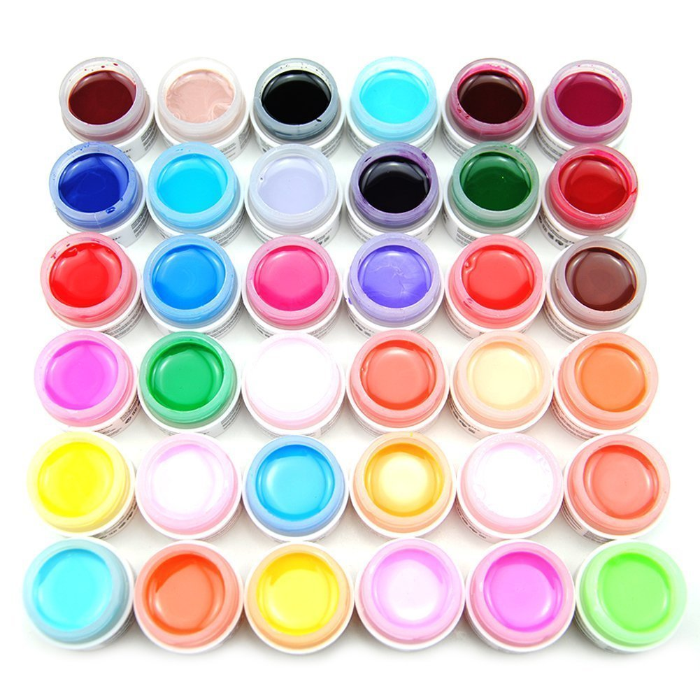 Hilai - Set de 36 colores de gel acrílico para decoración de uñas, color liso y puro