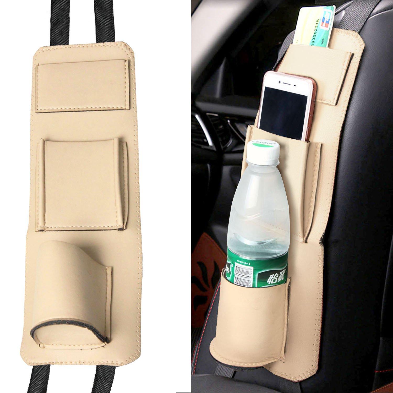 Raiphy Auto Seite Aufbewahrungstasche Aufhängen Organizer Halterung für Getränke, Stifte, Gläser, Snacks, Karten, Gadgets(Beige) Gläser Gadgets(Beige)