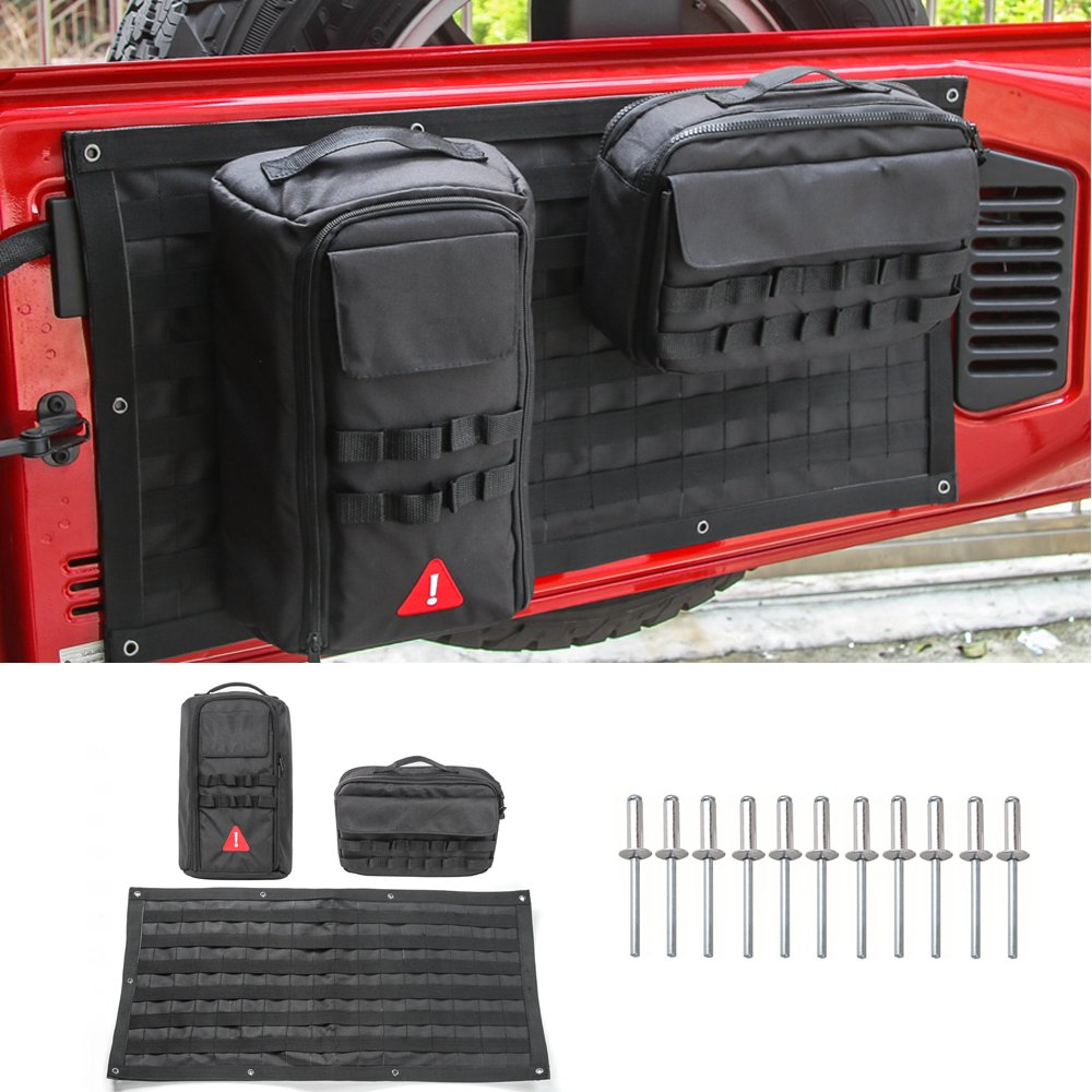 Pulidi Car Trunk Metal Organizer Shelves Car Storage Bag&Tool Kit Organizer Pockets Black for Jeep Wrangler JK 2007-2018