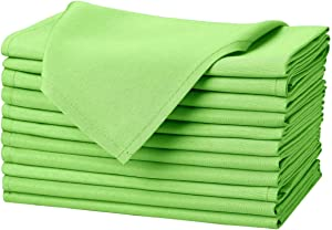 Remedios Apple Green Polyester Cloth Napkins - 20 x 20 Inch Soft Washable Dinner Napkins - Set of 12 Pieces Hemmed Edges Table Napkins for Wedding, Party, Restaurant