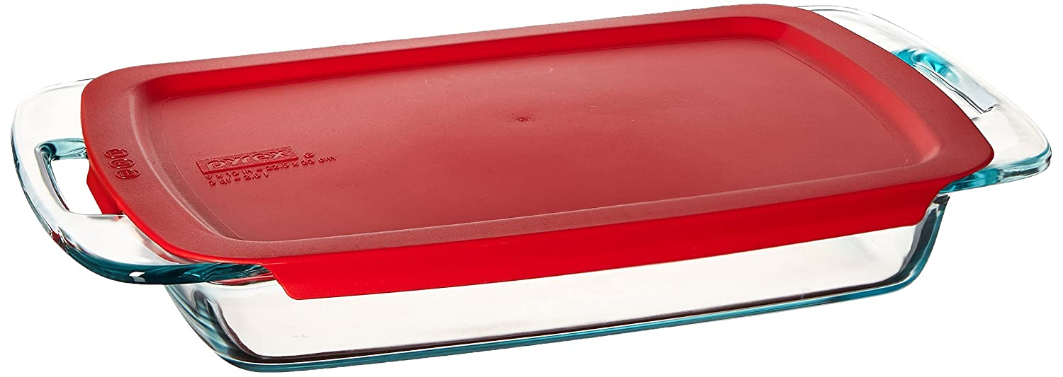 Pyrex Easy Grab 3-Quart Oblong with Blue Plastic Cover 1085803