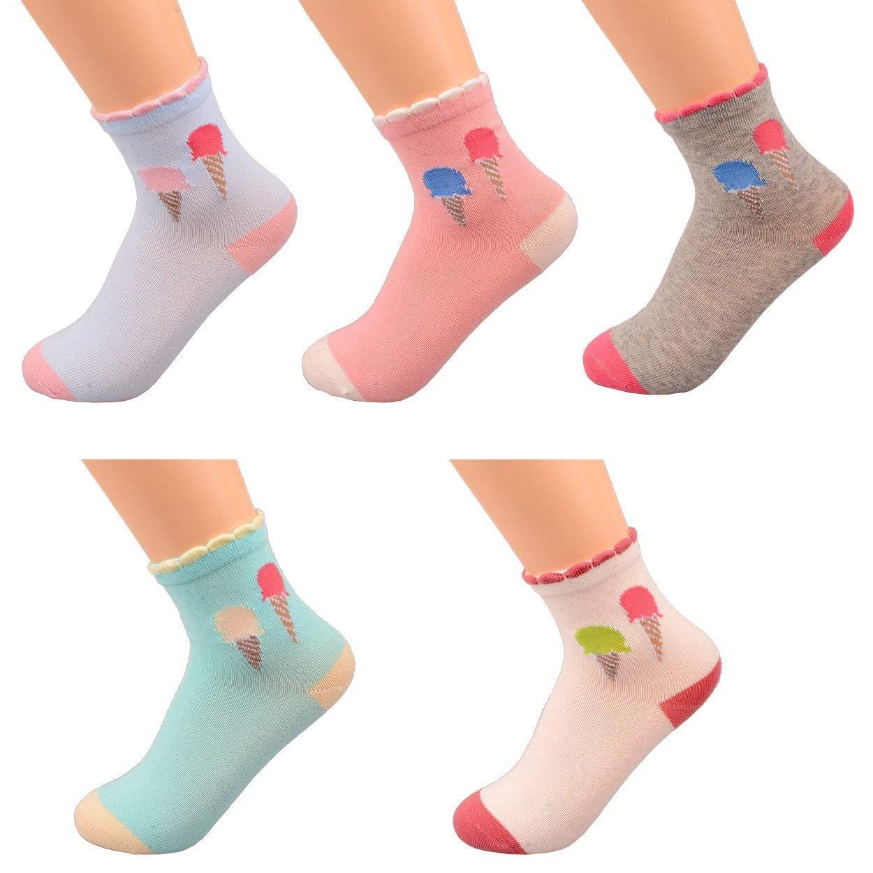 Girls Kids Cute Socks Cartoon Cotton Stockings No Seam Vibrant Icecream style Pack of 5
