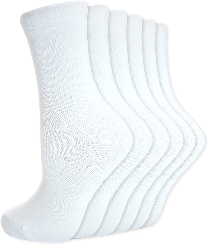 4-6 Childrens Kids Back to School 6 Pairs Ankle Cotton Rich Plain School Socks Shoe Sizes 6-8 9-12 12-3