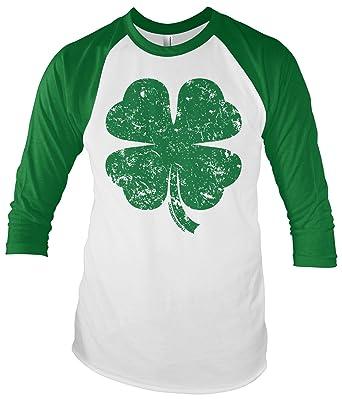 0a66bb6ad098 Threadrock Distressed Green Four Leaf Clover Unisex Raglan T-shirt S White /Kelly