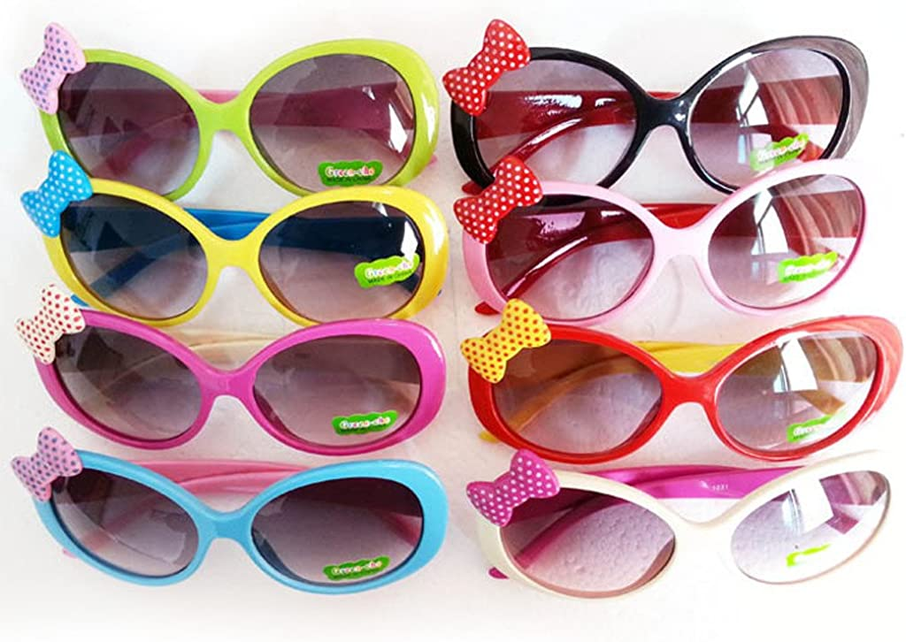 Kids Cute Fashion Bowknot Decoration Fun Sunglasses Gift Green Frame