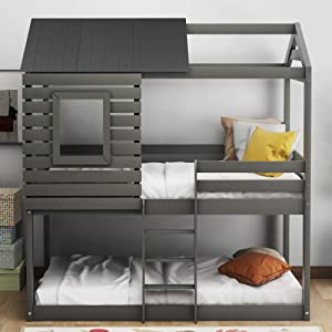 Merax Twin Bunk Wood Loft Bed Bedroom Furniture with Roof, Window, Guardrail, Ladder for Kids and Teens, Gray