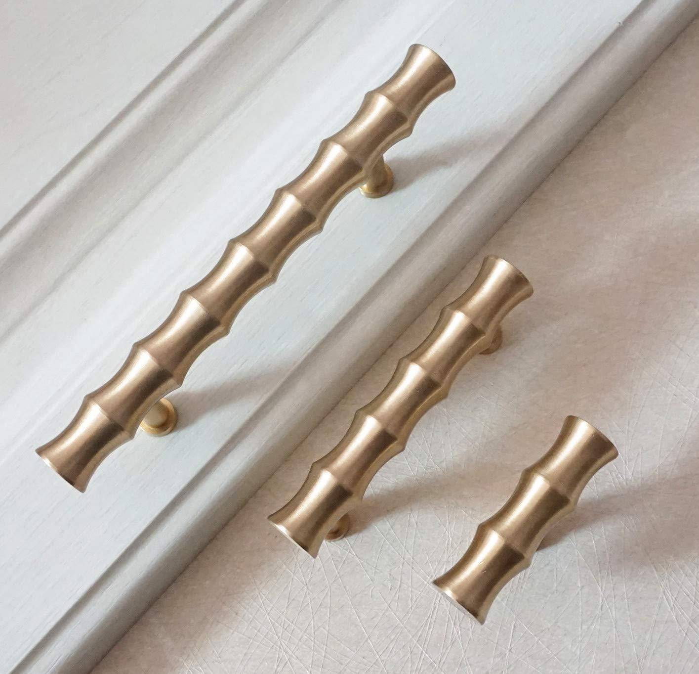 MOOD.SC 2,55 3,26 4,09 de bamb/ú caj/ón Perilla Dresser Tirador de lat/ón de oro gabinete tira hardware T perillas 65 83 103mm,SingleKnob