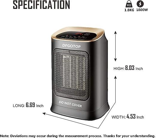 DFGOTOP Mini radiateur soufflant en c/éramique pour salle de bain ou salle de bain avec t/él/écommande