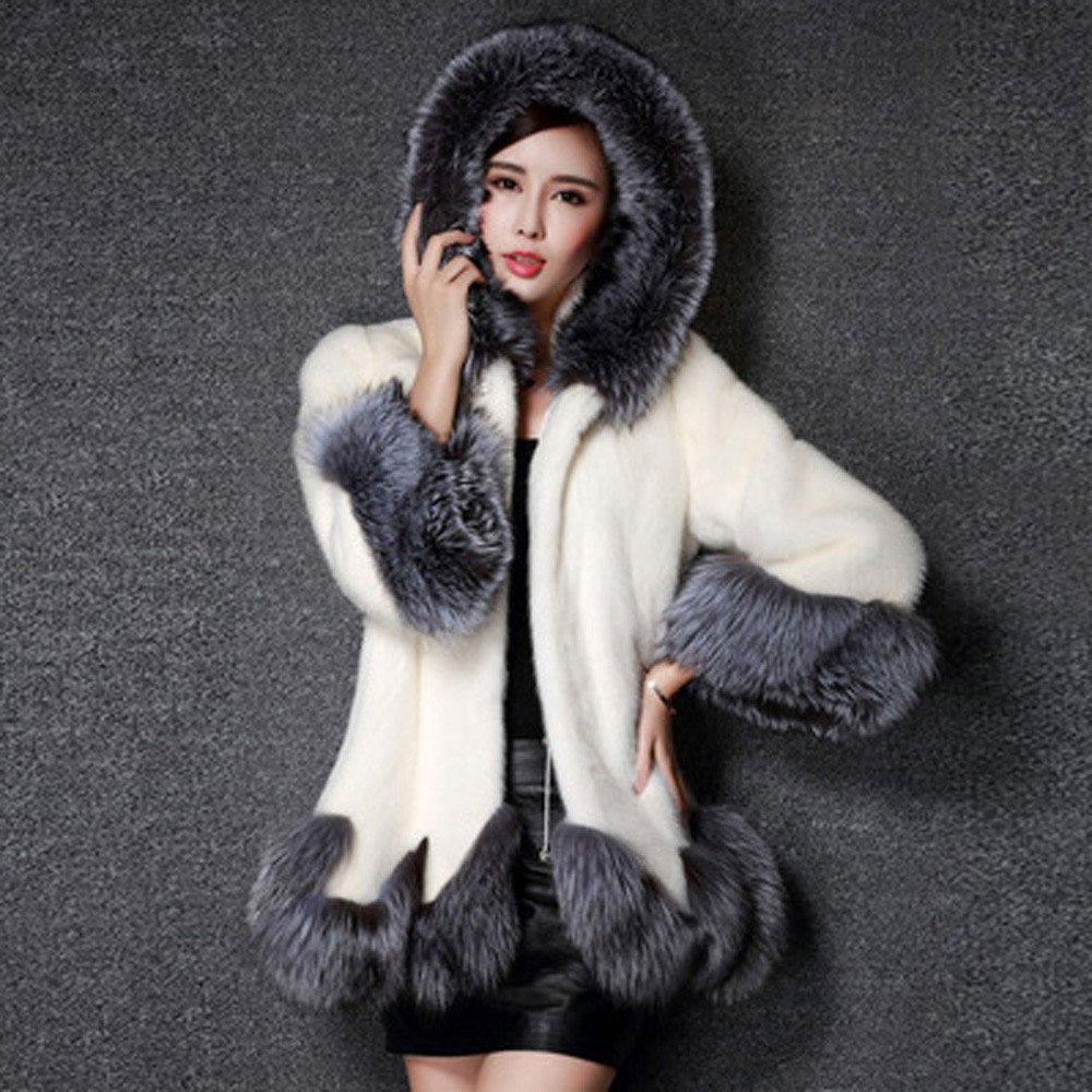 Baigoods Women Long Sleeve Parka Outwear Fur Lady Faux Fur Hooded Asymmetric Hemline Coat