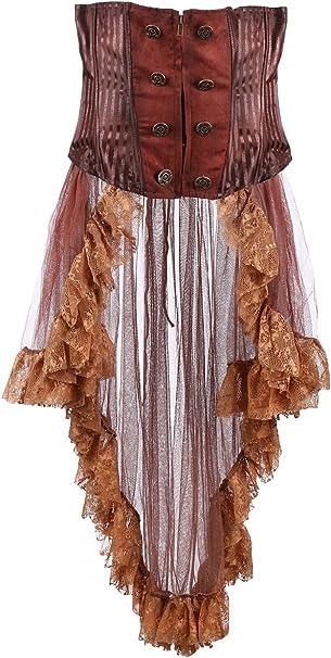 Pentagramme Falda Invernadero Talla marrón Rayas Steampunk ...