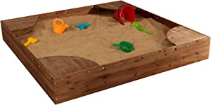 KidKraft Wooden Backyard Sandbox with Built-in Corner Seating and Mesh Cover - Espresso