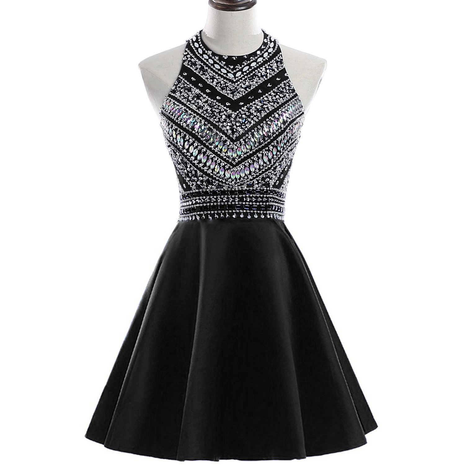 HEIMO Women\'s Sparkly Beaded Homecoming Dresses Sequined Prom Gowns ...