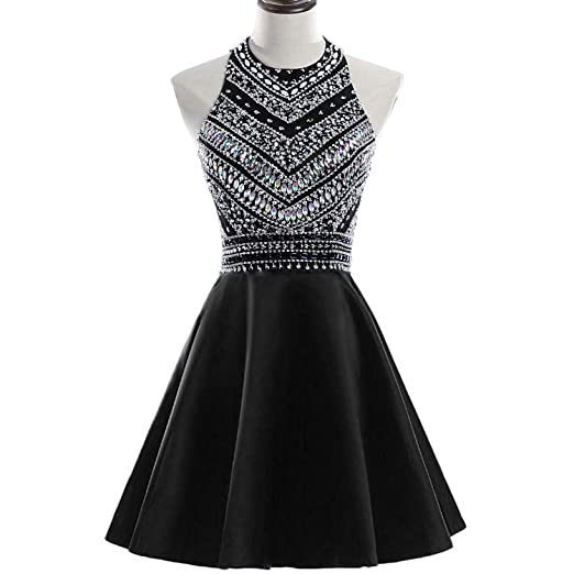 Heimo Womens Sparkly Beaded Homecoming Dresses Sequined Prom Gowns