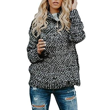 b5c351b9b4 Amazon.com  NREALY Sweaters Women s Long Sleeve Pullover Turtlenck Sweater  Zipper Oversized Knitted Jumper  Clothing