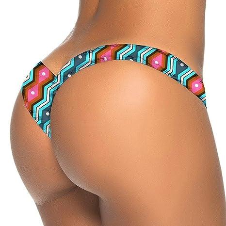 LMMVP Pantalones de natación,Bikini brasileño de la impresión de Las Mujeres Tanga Inferior baño bañador de Playa Traje de baño (M, B)