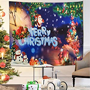 "NASKY Christmas Tapestry Decorations Merry Christmas Wall Tapestry Santa Xmas Snowman Tapestry Wall Hanging for Party Home Living Room Decor(Merry Christmas, 51.2"" X 59.1""-(130x150cm))"