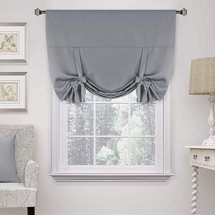 "H.VERSAILTEX Premier Thermal Insulated Blackout Curtain Tie Up Window Shade (Rod Pocket Panel) - 42"" Wide by 63"" Long - Dove Gray"