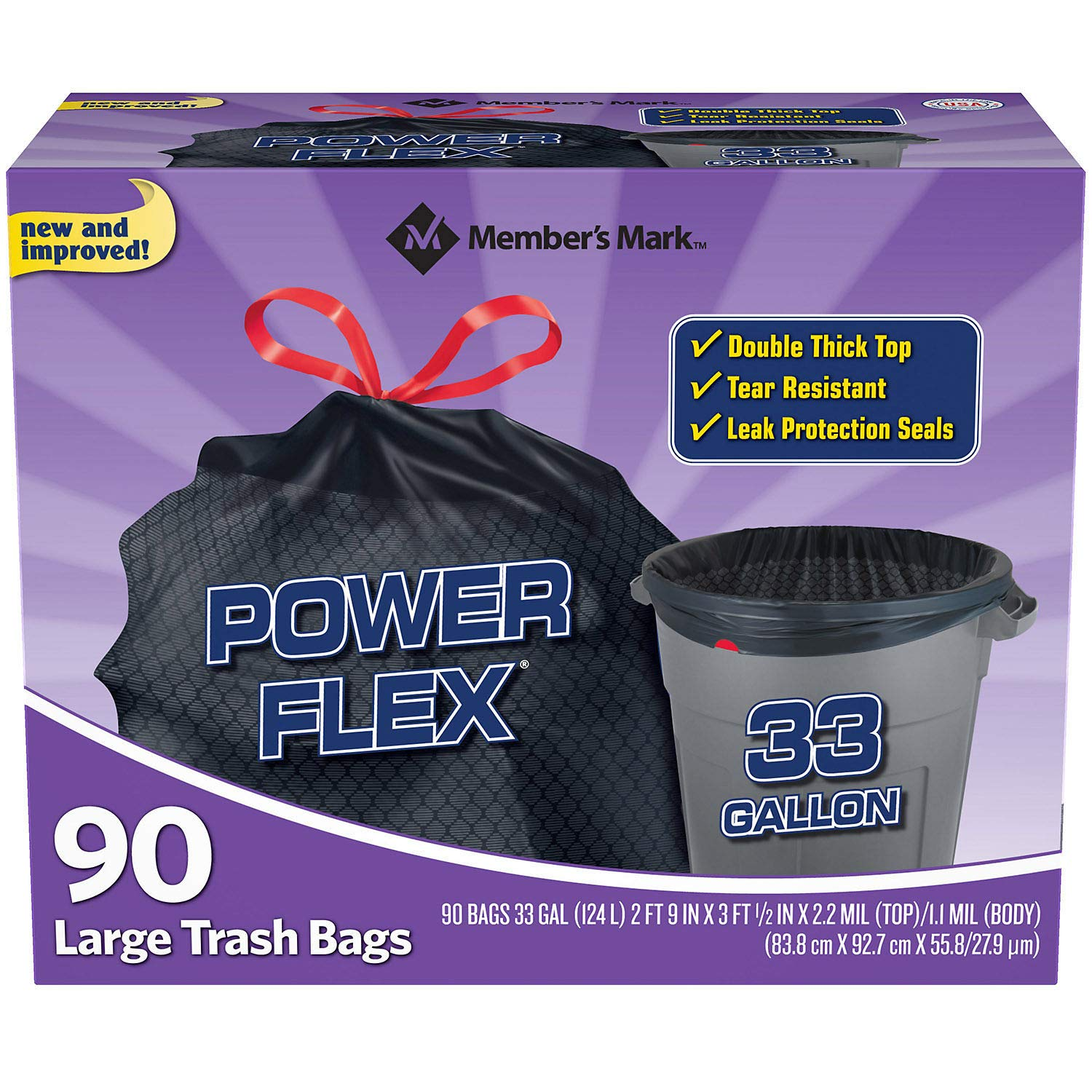 Member's Mark 33-Gallon Power-Guard Drawstring Trash Bags (90 ct.) - Trash Bags