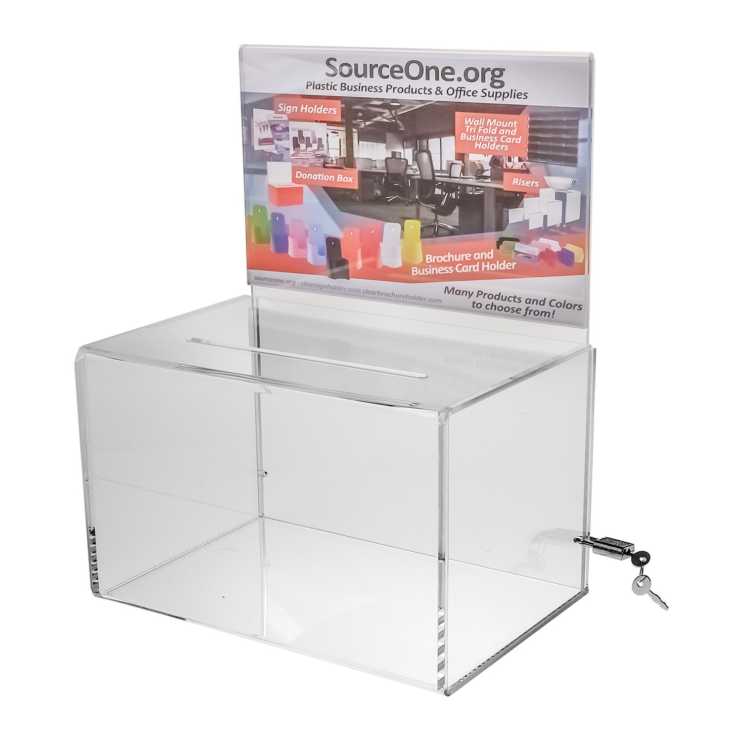 Source One Deluxe Oblong Donation Box with Ad Frame & Free Lock (Clear - 8 1/2 Inch)