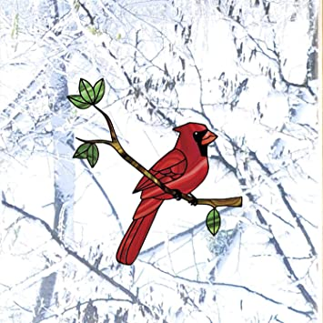 Bird Cardinal Perched On Branch Stained Glass Style See Through Vinyl Window Decal Copyright Yadda Yadda Design Co 5 75 Wx 6 H Cardinal