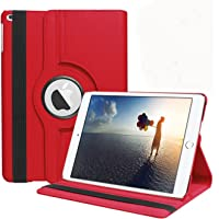 Aavjo 360 Degree Swivel Rotating Multi Angle Stand PU Leather Screen protective Smart book Cover for Apple iPad 9.7 Inch (Red)