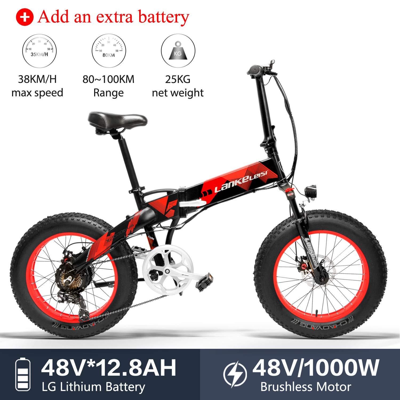 LANKELEISI X2000 20 /× 4.0 Pollici Big Tire 48V 1000W 12.8AH Fat Tire Telaio in Lega di Alluminio Tirare Bici elettrica Pieghevole per Adulto Femmina//Maschio per Montagna//Spiaggia//Neve E-Bike