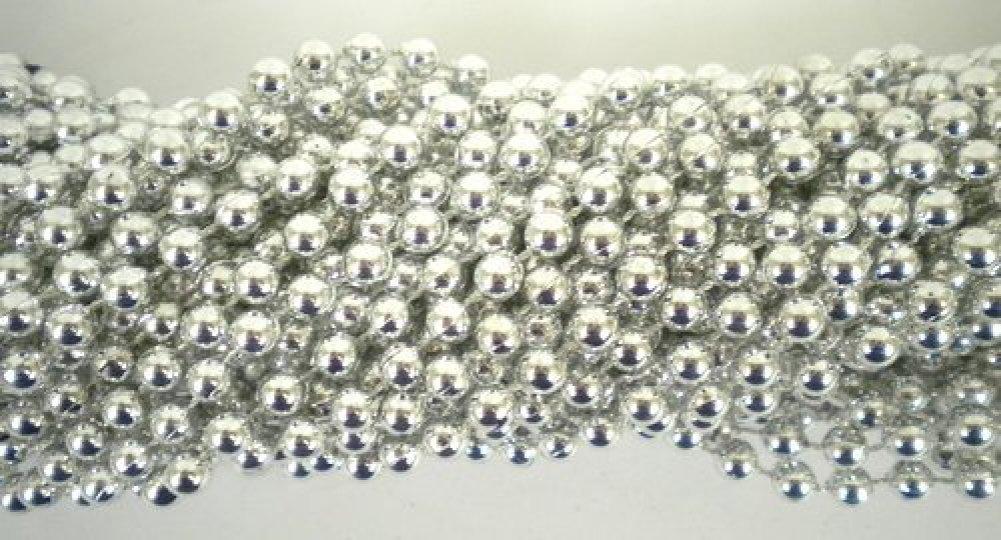 33 inch 07mm Round Metallic Silver Mardi Gras Beads - 6 Dozen (72 necklaces) Mardi Gras Spot 610074743552