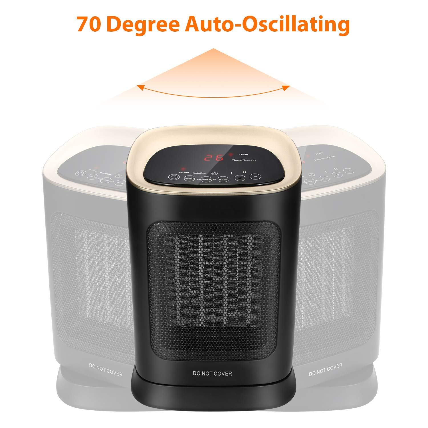 600W Personal Fan Heater with Warm and Natural Wind for Home Portable PTC Heater Office Bedroom Electric Fan Heater Oscillating Ceramic Fan Heater White Desktop 2018 Newest SEZAC