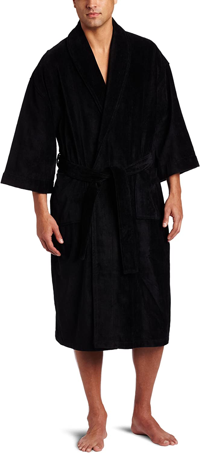 Majestic International Men's Basic Terry Velour Shawl Robe