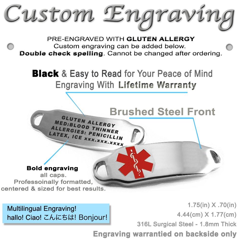 Pre-Engraved /& Customized Gluten Allergy ID Bracelet Steel Raindrop My Identity Doctor Red Symbol