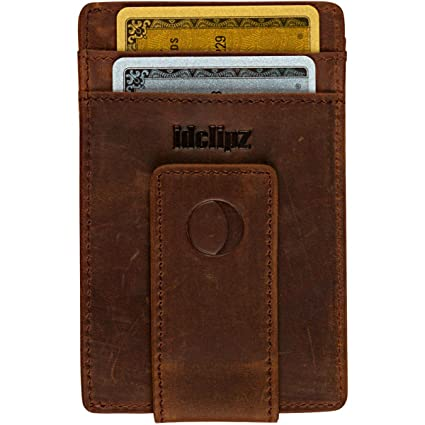 f45184765e2e Slim Leather Money Clip Wallet for Men - Best Front Pocket Wallet with  Credit Card Holder & ID Case - RFID Blocking (Distressed Brown)