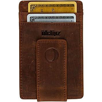 c96c9370dec8 Amazon.com  Slim Leather Money Clip Wallet for Men - Best Front Pocket  Wallet with Credit Card Holder   ID Case - RFID Blocking (Distressed Brown)   Dark ...