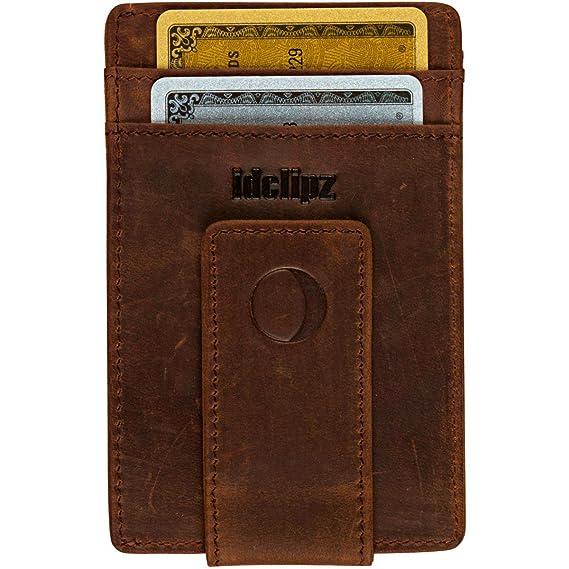 Leather Credit Card Holder ID Case Front Pocket Money Clip Wallets for Men