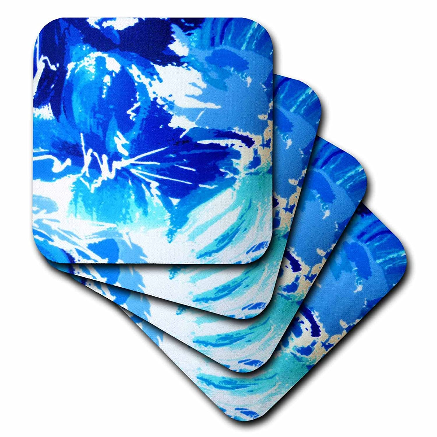 Set of 4 3dRose cst/_20301/_3 Blue Ice Ceramic Tile Coasters