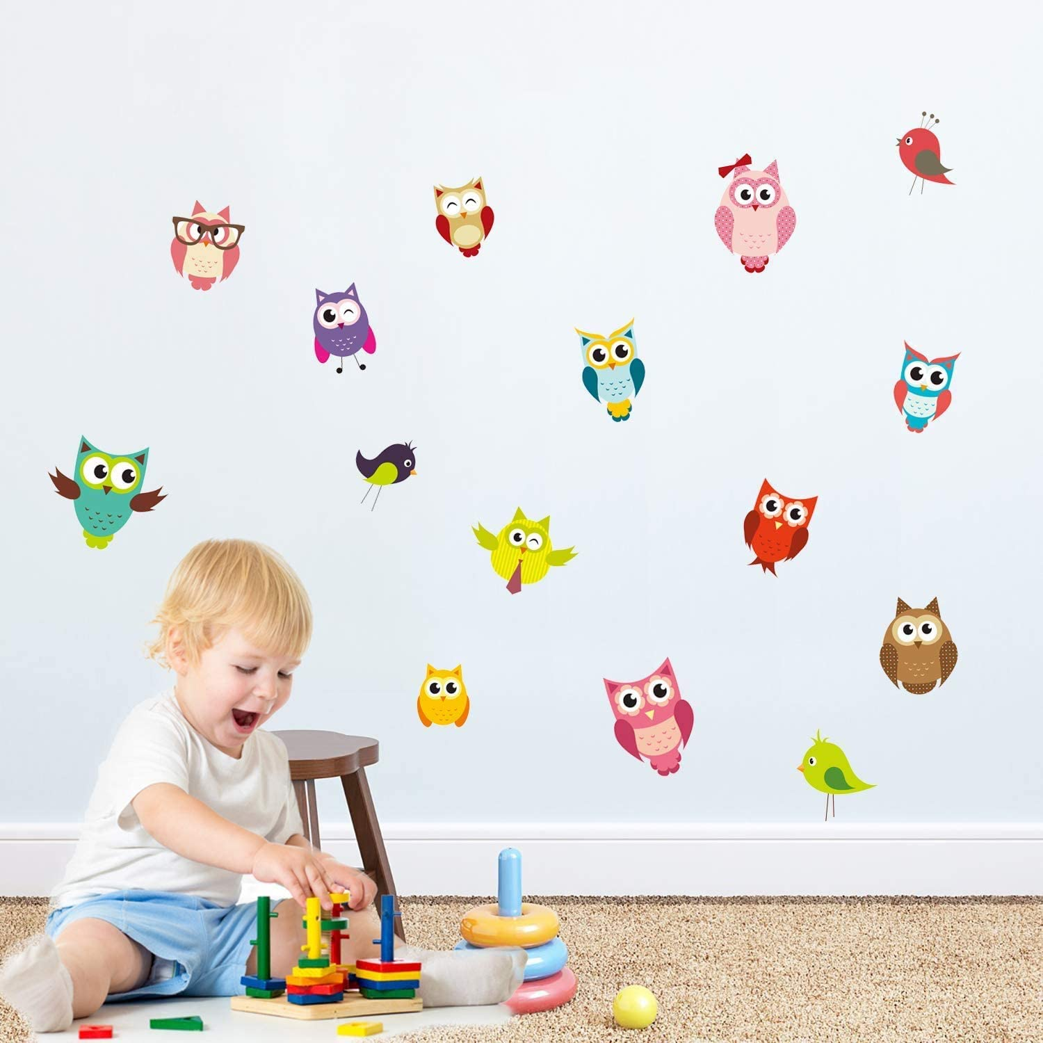 PARLAIM Owl and Bird Kids Animal Wall Stickers,Peel and Stick Removable Wall Decals for Kids Nursery Bedroom Living Play Room
