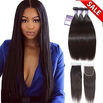 Faddishair Brazilain Hair Bundles With Closure Straight Weave 100 Unprocessed Human Hair Virgin Bundles Natural Color Hair Weave 14 16 18 14 Inch