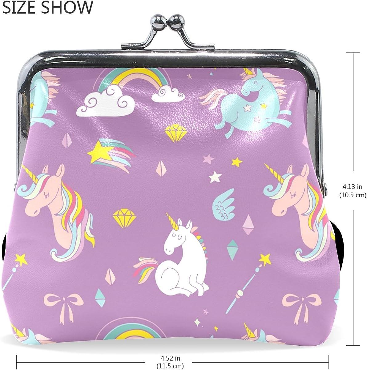 TIKISMILE Unicorn On Rainbow Leather Fashion Buckle Cute Coin Purse Bags Wallet