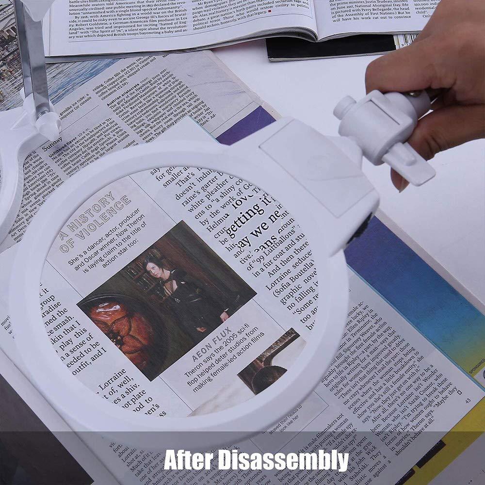 cucito CGBOOM Lente dIngrandimento 2,5X 5X con Luce LED con supporto per Reading Hobby artigianato