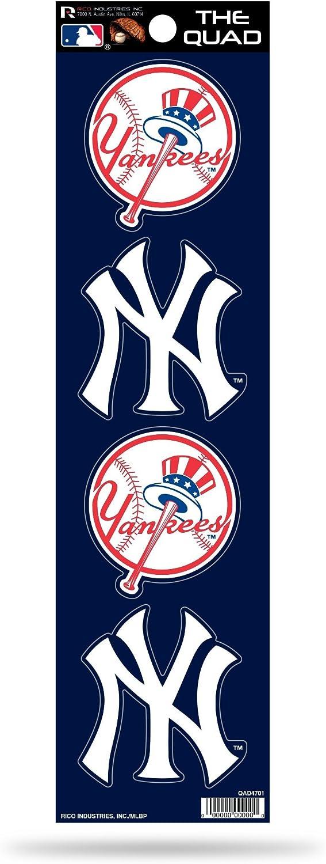 Rico Industries QAD4701 MLB New York Yankees Quad Decal,Blue,5.75