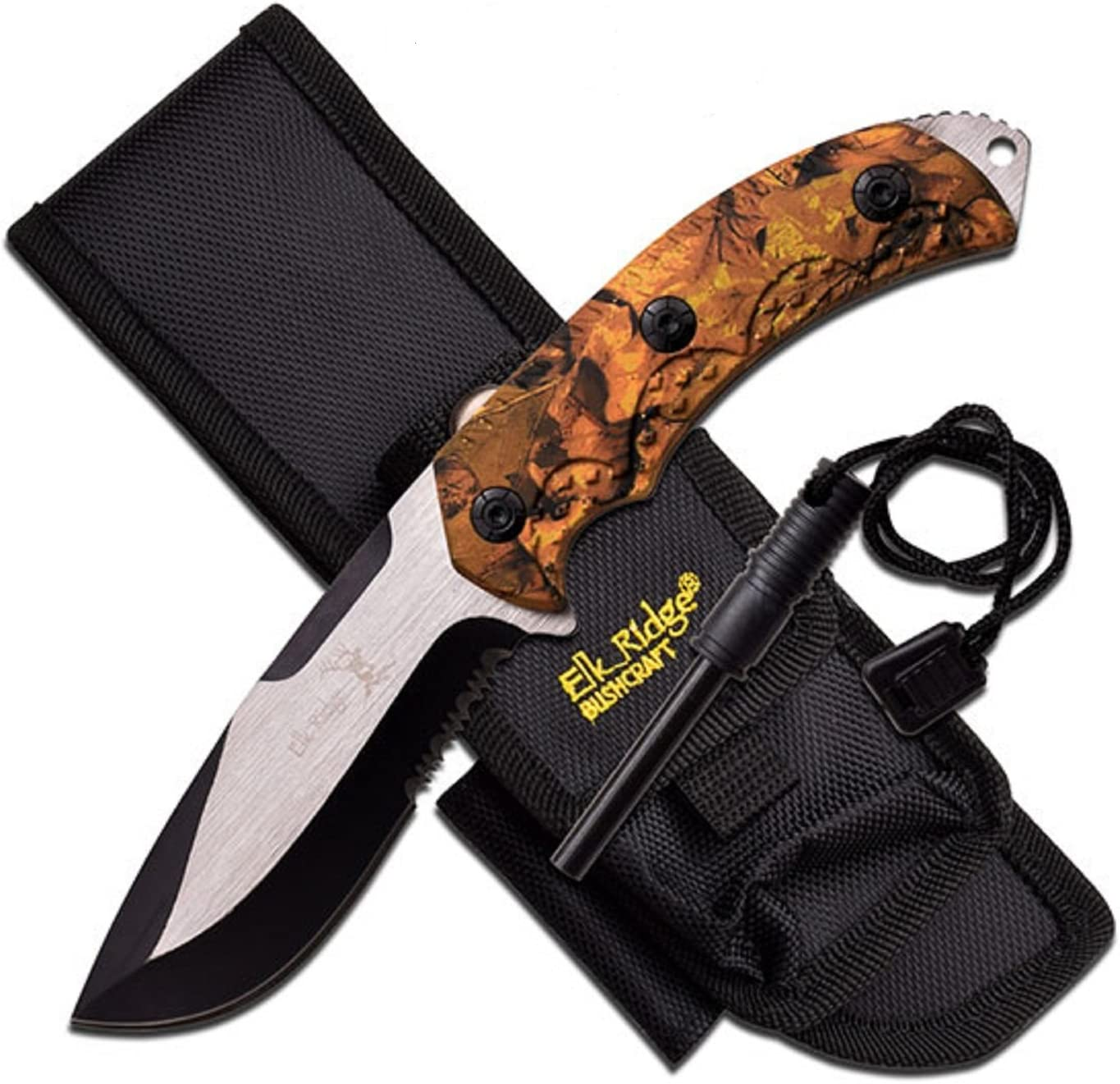 Elk Ridge 4.25 Blade-Jungle Camo Handle Fixed Blade Knife