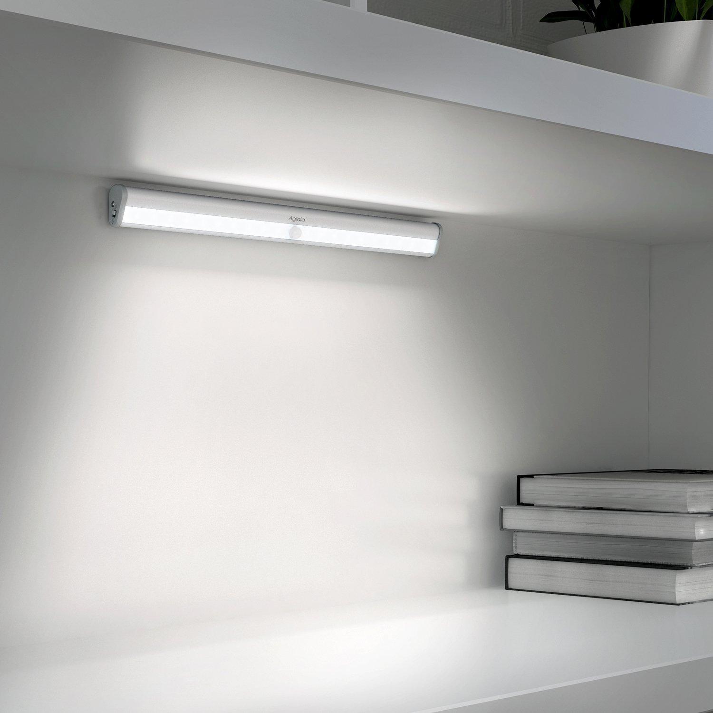 Aglaia Luz Armario 20 LEDs con Sensor de Movimiento, Barra de Luces con Banda Magnética, USB Recargable con Batería Incorporada 1000mAh [Clase de eficiencia energética A+]